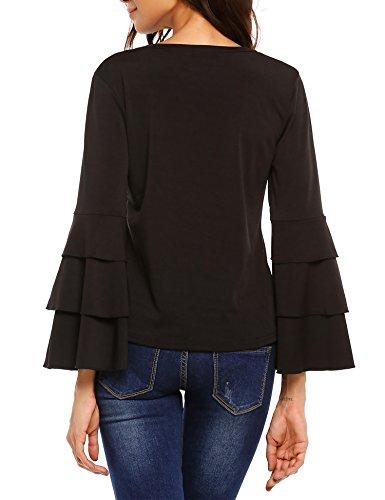 Beyove Damen Elegant Bluse Rundhals Langarmshirt Casual Hemd Oberteil Tops Shirts mit Trompetenärmeln Schwarz