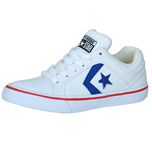 Converse Unisex-Kinder Gates OX Sneakers, Mehrfarbig (White/Blue/Red 100), 30 EU Blue Star Schuh