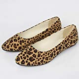 Lailailaily Womens Girls Leopard Big Size Slip On Flat Shallow Comfort Casual Single Shoes