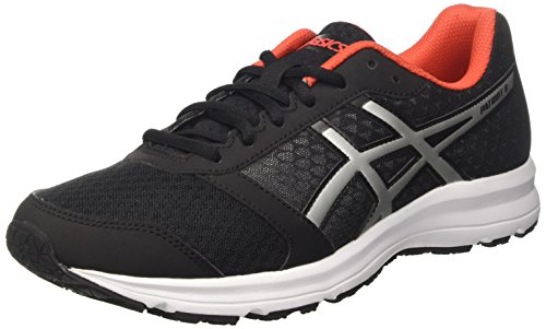 Asics Men's Patriot 8 Running Shoes, Multicolor (Black/Lightning/Vermilion), 8 UK