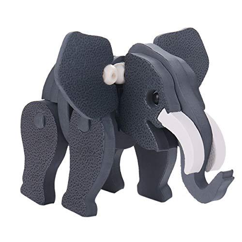 Wallfire 3D EVA Foam DIY Animal Jigsaw Elefante/Cebra/Jirafa Modelo Puzzle Niños Educativos Bloque de construcción de Juguete (Color : Elephant Model)