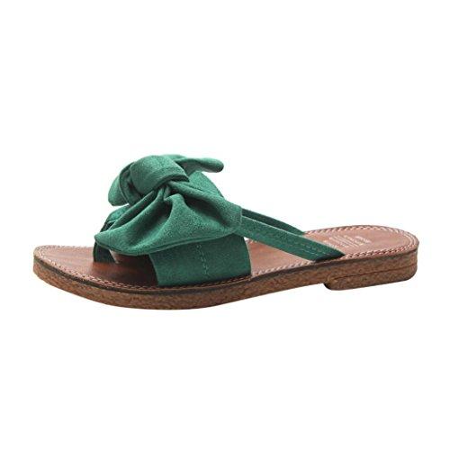 VJGOAL Damen Sandalen, Damen Fashion Bowknot Solid Color Fliege Flache Ferse Flachen Sandalen Slipper Sommer Strand Schuhe (38 EU, Grün)