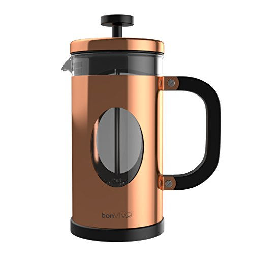 bonVIVO GAZETARO I Design-Kaffeebereiter und French Press in Kupfer-Optik, Kaffee-Kanne aus Glas mit...