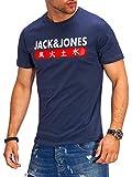 JACK & JONES Herren T-Shirt Kurzarmshirt Top Print Shirt Casual Basic O-Neck (Medium, Total Eclipse)