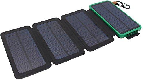 Solarladegerät, Itscool Solar Powerbank 12.000 mAh 9 LED Licht mit 4 Solarzellen Wasserdicht 2 USB für Smartphones und alle 5 V-Geräte