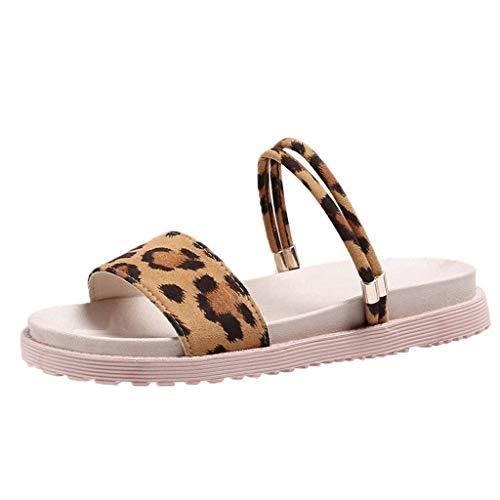 T-shao Moda Damas Verano Casual Leopardo Pisos Playa Zapatos Zapatillas De Sandalias Diarias con Dedos Abiertos para Vacaciones (Color : Amarillo, Size : 37 EU)