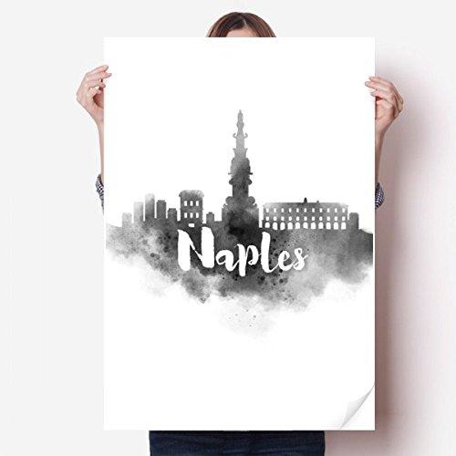 DIYthinker Naples Italie Point de repère d'encre Ville Peinture Vinyle Autocollant de Mur Poster Mural Wallpaper Chambre Decal 80X55Cm 80Cm X 55Cm Multicolor