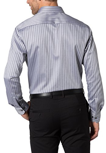 Eterna Long Sleeve Shirt Modern Fit Natté Striped Grigio