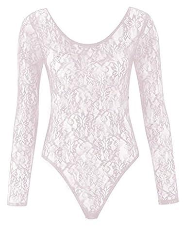Fashion 4 Less Womens Ladies Plus Size Mesh Insert Lace Leotard Bodysuit Body con Top 8 to 26 (16-18, White)