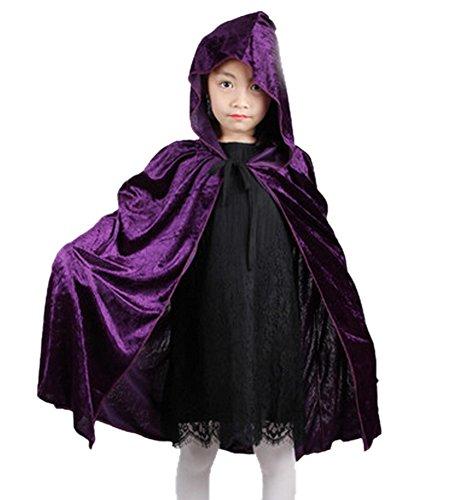 Lila Cape Kostüm - DELEY Kinder Halloween Kostüm Mädchen Velvet Kapuzen Umhang Cape Masquerade Cosplay Zubehör Lila