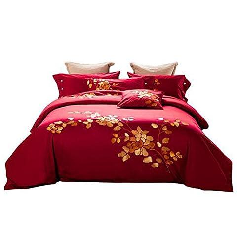 4-Teilige Bettwäsche Set Lang-Stapel Baumwolle Luxus Stil Stickerei Bettwäsche Kit, Steppdecke * 1 / Blatt * 1 / Kissenbezug * 2, Königin / König , Red , 1.8M