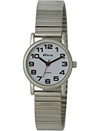 Ravel Easy Read Watch on Expandable Women's Quartz Watch with White Dial Analogue Display and Silver Stainless Steel Plated Bracelet R0208022S
