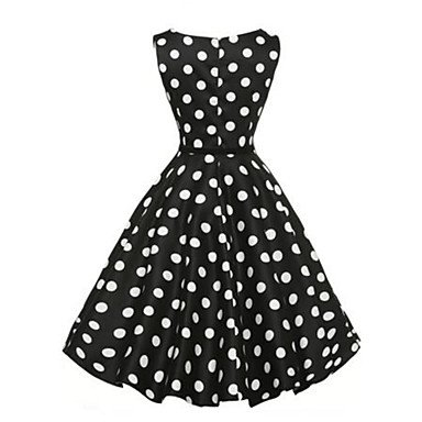 PU&PU Robe Aux femmes Trapèze simple,Points Polka Col Arrondi Au dessus du genou Nylon BLACK-M