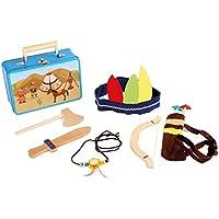 Kinderkoffer Indianer-Set / Indianer Kostüm mit viel Zubehör (Axt, Messer, Pfeil, Bogen, Kopfbedeckung und Indianerkette), Verkleidung ab 3 Jahre