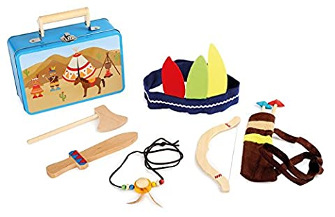 Kinderkoffer Indianer-Set / Indianer Kostüm mit viel Zubehör (Axt, Messer, Pfeil, Bogen, Kopfbedeckung und Indianerkette), Verkleidung ab 3