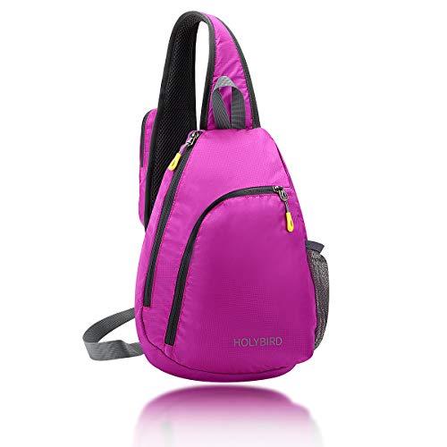 HOLYBIRD Schultertasche Schulterrucksack Brusttasche Daypacks Crossbody Leichte Reisetasche Wandertaschen für Männer Frauen Teenager, rosarot, 14.0