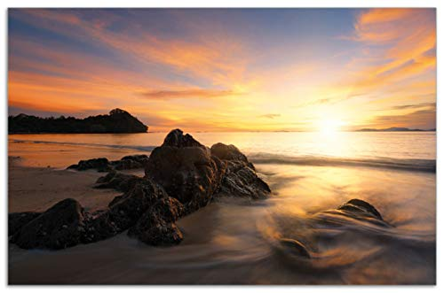 Wallario Herdabdeckplatte/Spritzschutz aus Glas, 1-teilig, 80x52cm, für Ceran- und Induktionsherde, Motiv Sonne über dem Meer mit Felsenlandschaft