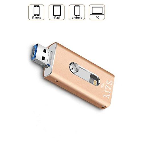 32GB unidad Flash USB iPhone–USB, micr USB y Lightning conector (3en 1) para iphone ipad ios y Android pc-silver dorado dorado 32 gb