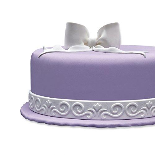Cake Company Fondantrand   Fondant Bordüre in 2x 1,25 m & 2,5 cm hoch   1 Stück   Fondant Band in Weiß   Tortenband mit Doppelband Blüte  ...