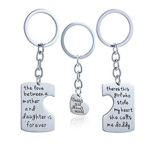 Yinew 3-teiliges Schlüsselanhänger-Halsketten-Set Daddy's Girl Mommy's World Mutter Tochter Vater Familie Halskette Set - 3 Stück Mutter-töchter-halskette,