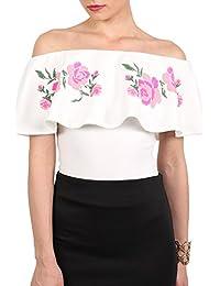 PILOT® Women's Embossed Floral Print Frill Bardot Bodysuit in Cream