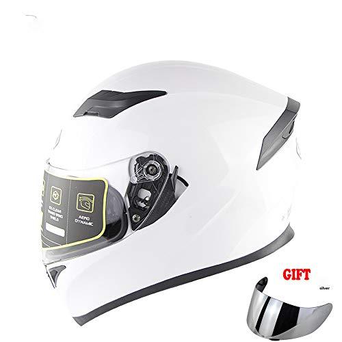 TANMIN Unisex Motociclo di Sicurezza Casco, Staccabile Double Visor DOT/ECE Approvato con Sistema di Ventilazione del Casco Moto + Libero Visiera Extra, Bianco,XXL(63~64cm)