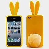 Coque en gel de silicone pour Apple iPhone 4/4S Oreilles et queue de lapin en relief
