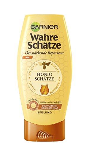 Garnier Wahre Schätze Reparierende Spülung Honig Schätze, kräftigt, schützt und nährt strapaziertes und brüchiges Haar, 200 ml