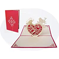 LIN - Pop Up 3D Biglietto di auguri per il giorno di San Valentino, Farfalla e cuore (#65)