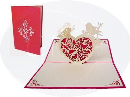 Lin Carte Pop Up Mariage Mariage Cartes, invitations, cartes 3D Amour Mariage Invitations, cartes 3D Cartes de vœux mariage, mariage Félicitations, cœurs et papillons