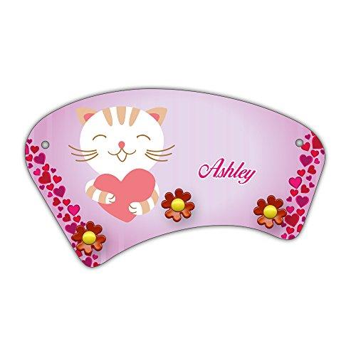 Wand-Garderobe mit Namen Ashley und süßem Katzen-Motiv mit Herzen für Mädchen - Garderobe für Kinder - Wandgarderobe -
