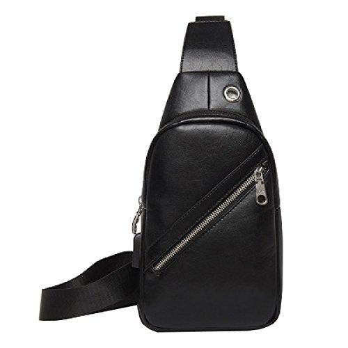 LAIDAYE Männer Art Und Weise Mit Großer Kapazität Diagonal Umhängetasche Business-Paket Schultertasche Tasche Brust Black