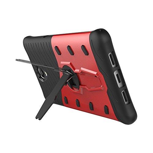 Schock-resistent 360 Grad Spin Sniper Hybrid Case TPU + PC Kombi-Gehäuse mit Halter für Lenovo Vibe P2 by diebelleu ( Color : Gold ) Red