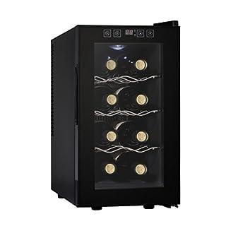 Acopino BC25A kompakter Weinkühlschrank für 8 Flaschen, schwarz, verglaste Tür, 23 Liter