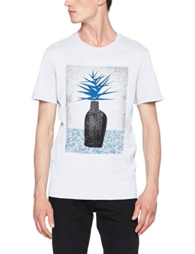 SELECTED HOMME Herren T-Shirt SHDNOAM SS O-Neck Tee, Weiß (Bright White Print:Vase), Large