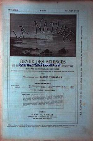 NATURE (LA) [No 838] du 22/06/1889 - METEORITEDE BENDEGO - MEUNIER - LES RAYONS ELECTRIQUES - PHOTOGRPAHIE - COHEN - LA VELOCIPEDIE MILITAIRE EN FRANCE LES PONTS ROULANTS ELECTRIQUES DU PALAIS DES MACHINES A L'EXPOSITION - DE NANSOUTY - REQUINS DANS L'ADRIATIQUE - EXPEDITION AMERICAINE A LA BAIE DE LADY FRANKLIN - MOUREAUX - MEUNIER - LA RUE DU CAIRE A L'EXPOSITION.