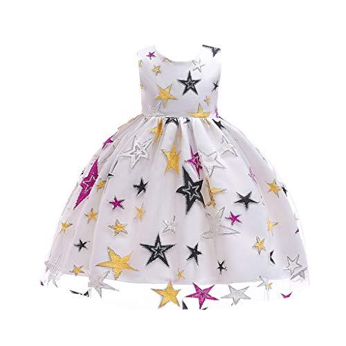 Kind Kostüm Sterne - IZHH Kinder Kleider, Mädchen Sterne Gestickte Prinzessin Kleid Stern Print Spitzenkleid Kinder Mädchen Prinzessin Kostüme Party Tutu Bogen Kleider(Weiß,150)