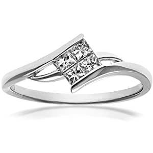 Naava Women's 18 ct White Gold Solitaire Look Crossover Engagement Ring, IJ/I Certified Diamonds, Princess Cut, 0.25ct Size : J