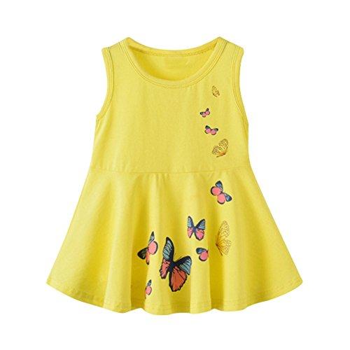 YWLINK MäDchen Kleinkinder Einfach Süß Schmetterling Drucken ÄRmellos A Line Weste Kleid Sommerkleid Tageskleider(Gelb,Größe: ()