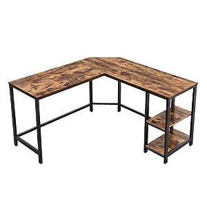VASAGLE Schreibtisch, L-förmiger Computertisch, Eckschreibtisch mit 2 Ablagen, platzsparender Bürotisch im Industrie…