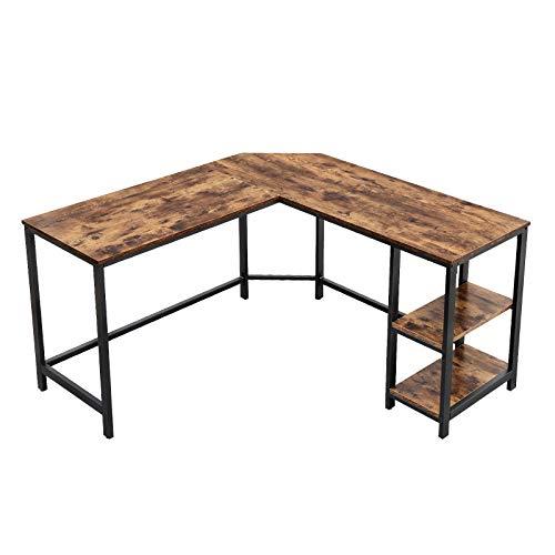 VASAGLE Schreibtisch, L-förmiger Computertisch, Eckschreibtisch mit 2 Ablagen, platzsparender Bürotisch im Industrie-Design, Gaming, einfacher Aufbau, Vintage, Holzoptik, dunkelbraun LWD72X