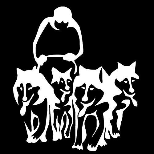 RJSYT Autoaufkleber Husky Hunde Und Schlitten Vinyl Aufkleber Kreative Auto Aufkleber Auto Styling LKW Dekoration 2PCS -