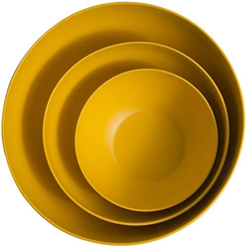 Insalatiera in fibra di bambù set di tre frutti in vetro set per salute ambientale home party (2 colori) grande 4000 ml (color : yellow)