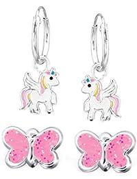 FIVE-D 2Pares Infantil Pendientes Pendientes de aro Unicornio y Purpurina Mariposa de Plata de Ley 925en Estuche de Joyas