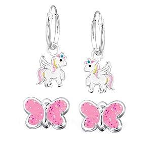FIVE-D 2 Paar Kinder Ohrringe Creolen Einhorn und Glitzer Schmetterling aus 925 Sterling Silber im Schmucketui