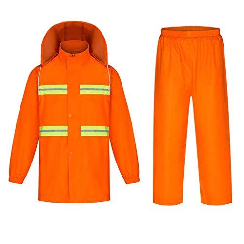 Giow Arbeitskleidung Regenmantel, wasserdichter Regenmantel für den Außenbereich, trocken und atmungsaktiv, mit reflektierenden Sicherheitsstreifen, für Sicherheitskräfte, Bauarbeiter oder Wasser