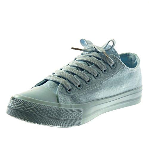 Angkorly Scarpe Moda Sneaker Tennis Donna Pastello Tacco Tacco Piatto 1.5 cm Azzurro