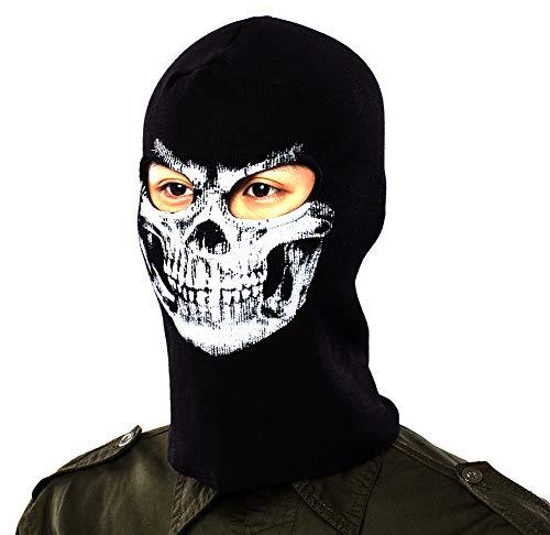 Nuoxinus Sturmhaube mit Totenkopf-Gesicht, winddicht, staubdicht, für Halloween, Cosplay, Party, Outdoor, Radfahren, Wandern, Skifahren, Camping, Schwarz