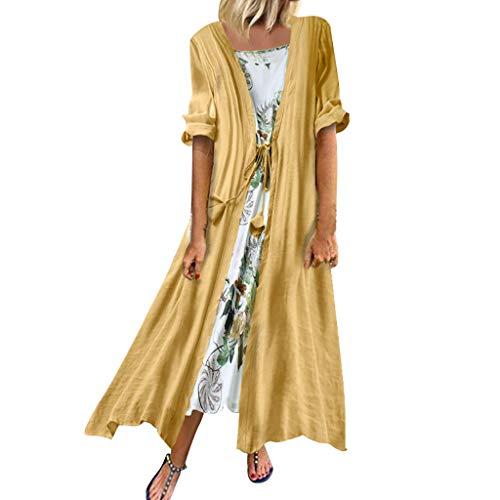 Kleid Stola 2Pcs Damen Weinlese Boho Maxikleid Cardigan Oansatz Baumwolle Leinen Partykleid Blumendruck Kurzarm Zweiteiliges Kleider mit 3/4 Hülsen, Gelb