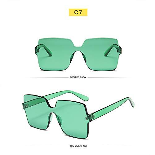 CWYPB Männliche weibliche quadratische Sonnenbrille, Rahmenbrille Paar Süßigkeiten Farbton Spiegel UV-Schutzspiegel Sun Mirror für touristische Strand-Shopping (7 Farben),G